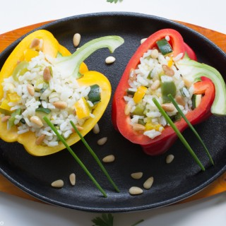 Rice, Vegetables & Pine Nuts Stuffed Peppers