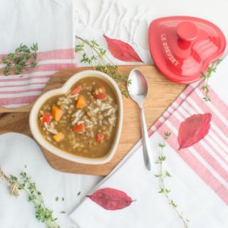 Estofado de lentejas, arroz y verduras