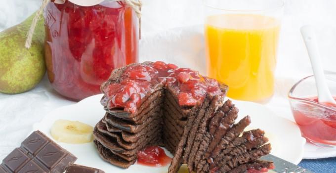 Banana & chocolate pancakes