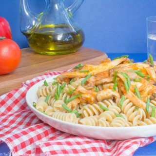 Pasta with mushroom, tomato & red pepper sauce