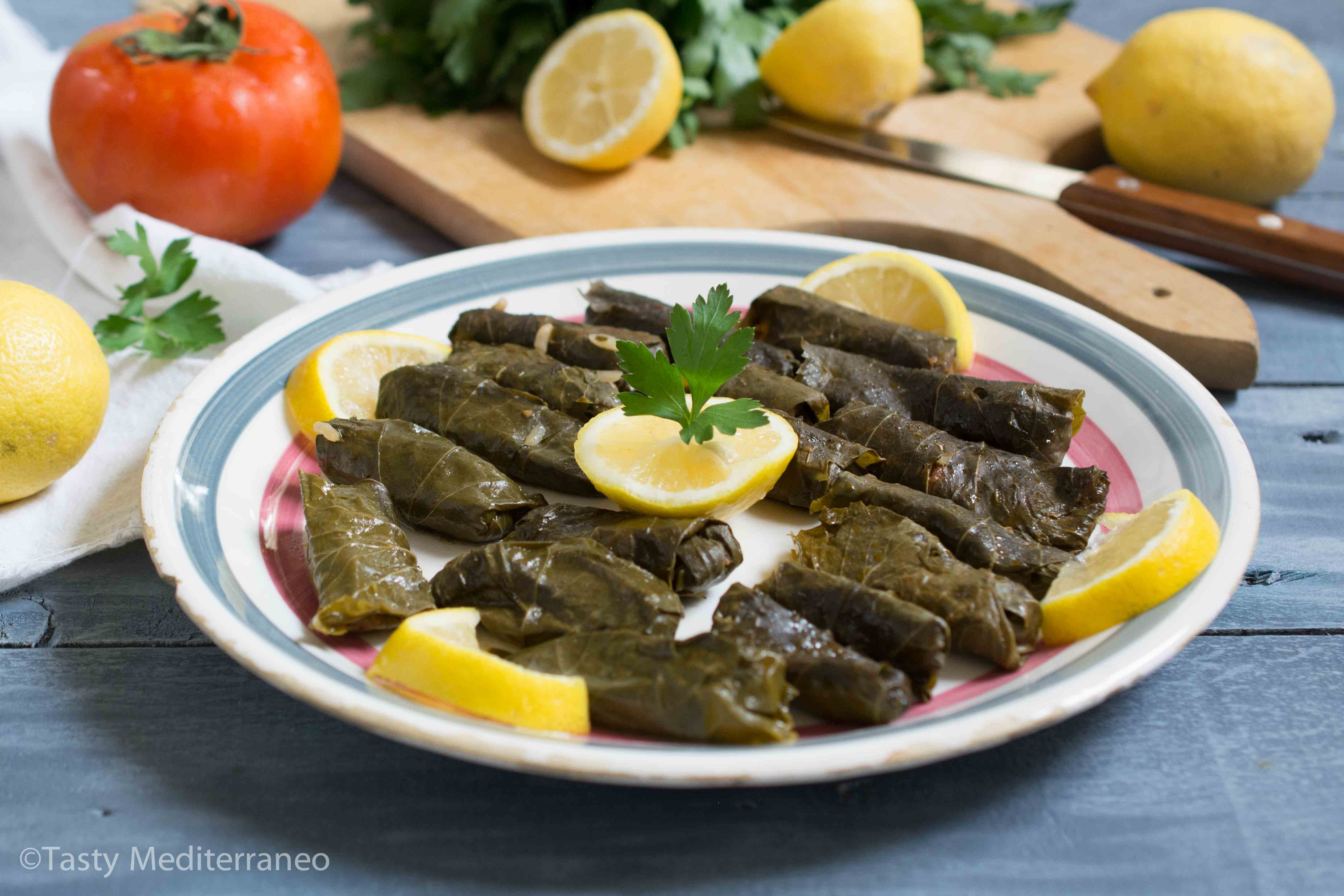 Lebanese stuffed grape leaves vegan tasty mediterraneo the nutritional properties of all of these ingredients together make this healthy vegan mediterranean diet recipe of lebanese stuffed grape leaves a highly forumfinder Choice Image
